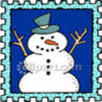 Snowman on a postage stamp royalty free clipart picture 081218 183477 579048